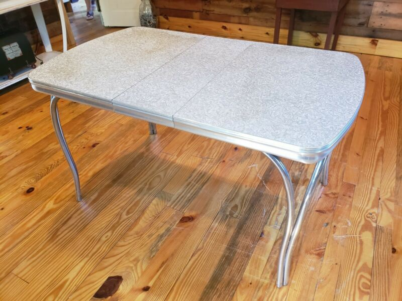 Mid - Century Modern Kitchen Table & Formica/Tubular Chrome...Gray & White