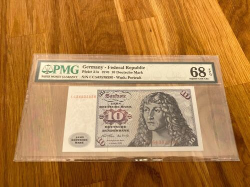 1970 Germany  Federal Republic 10 Deutsche Mark Pick#31a PMG 68 EPQ Superb Gem