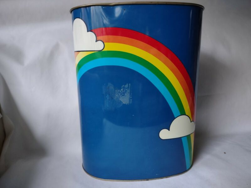 Vintage Cheinco Rainbow Clouds Metal Trash Garbage Can 1980s Made in USA