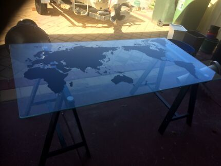 World map desk glass home garden gumtree australia free local ikea solid glass world map desk gumiabroncs Gallery
