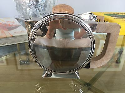 Christofle Silverplate tea pot with oak wood handle and lid excellent condition