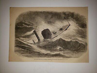 USS Weehawken Civil War Ironclad Monitor Ship 1863 Sketch Print