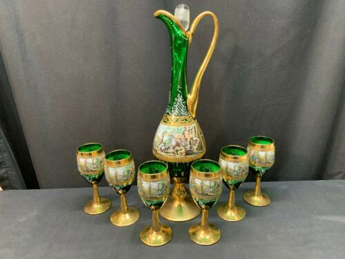 Bohemian Victorian Green Gold Decanter w/Stopper & (6) Liqueur / Wine Glasses