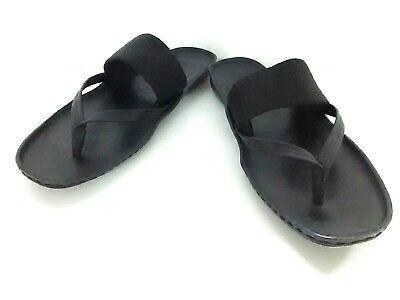 Auth GUCCI Black Leather Cotton Sandals Men