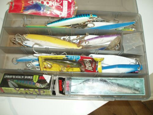 fishing lures and stuff. includes tackle box lot