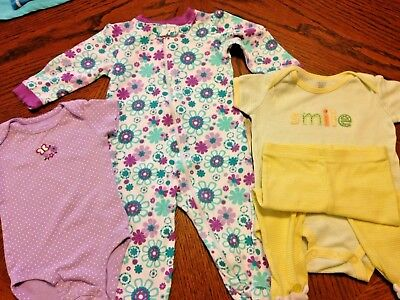 (4)PIECE PKG, 3OUTFITS.  YELLOW, LAVENDER, WHITE...VARIETY IN SAME SIZE RANGE 6-