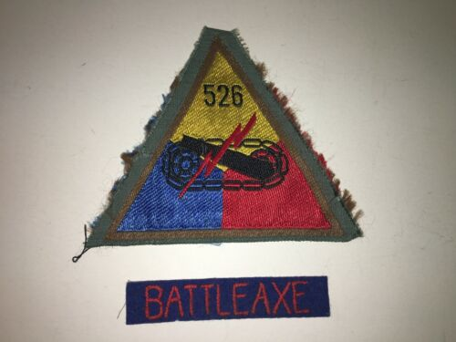 TT165 WW2 Original US Army Armored Tank Battalion Patch w/tab Bevo 526th WB5