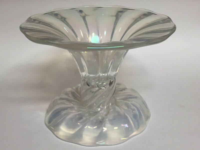 """Iridescent Art Glass Pedestal Centerpiece Swirl Compote Bowl 6.25"""""""