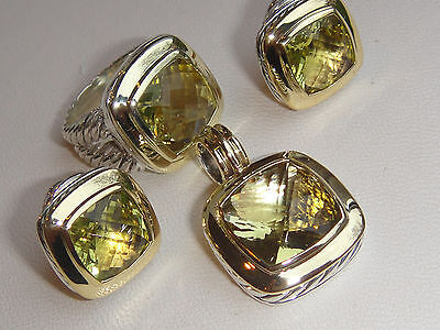 $1650 DAVID YURMAN 18K,SS ALBION LEMON CITRINE ERRINGS
