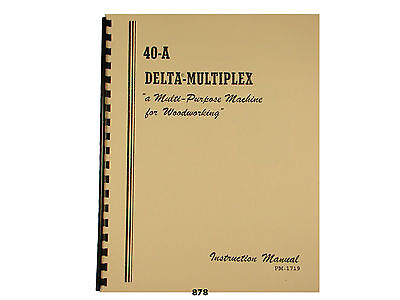 Delta Multiplex 40-a Radial Arm Saw Operator And Parts List Manual 878