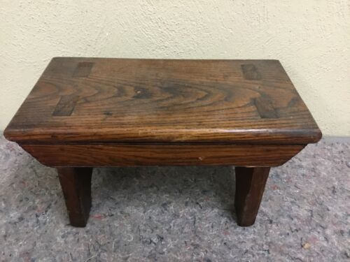 Antique Mortised Wood Step Stool-Nice Stain - $24.99