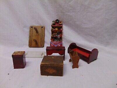 15 Vintage Wooden Doll House Furniture StromBecker Walnut Table Hutch glass Top Glass Walnut Hutch