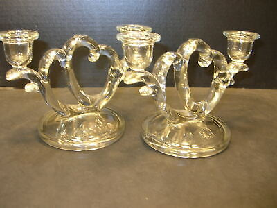 """PAIR of c1930  IMPERIAL GLASS No.752 """"TWO HEARTS AS ONE"""" DOUBLE CANDLE HOLDERS"""