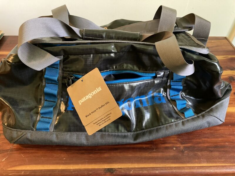 New Patagonia Black Hole Duffel Bag 45L Forge Grey With Tags