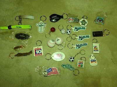 27 Key Chains assorted, advertising, sports, utlility