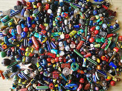Original Indische Glasperlen Mix verschiedene Designs, Farben & Größen pro 80g
