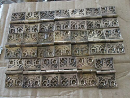 "10 Pair Vintage Interior Shutter Hinges Craftsman Deco Design 1 1/4 x 2"" Bronze"
