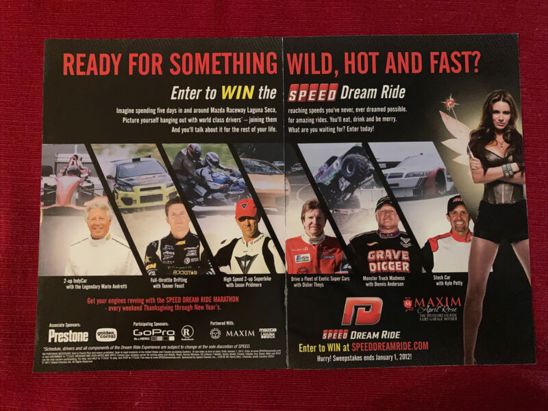 Speed Channel Mario Andretti April Rose Kyle Petty 2009 Ad/Poster Promo Art Ad
