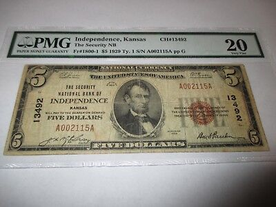 5 1929 Independence Kansas Ks National Currency Bank Note Bill  13492 Vf20