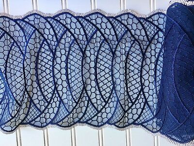 Navy Blue Embroidered Wavy Lace Border Trim / Sewing/Crafts/Bridal/8.5