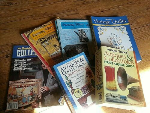 Lot antique Price guide + Spinning Wheel magazine +Inside Collector Book + Quilt