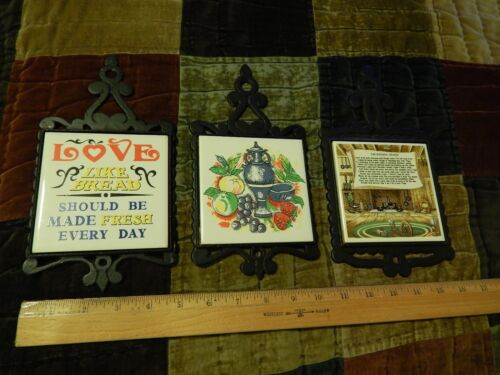 Cast Iron ~ Ceramic Tile [LOT of 3] Wall_Countertop TRIVETS Retro Vtg Decor