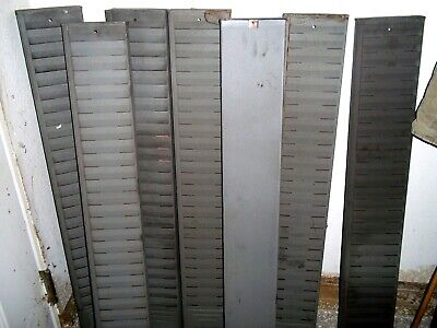 Vintage Time Card Rack Industrial 25 Slot Holder Dark Gray Steel Wall Mount-euc
