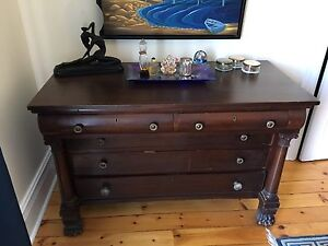 Solid wood dresser with carved feet