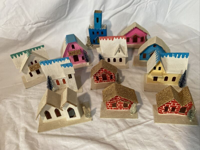Vintage Lot 12 Japan Paper Mache Cardboard Glittered Christmas Houses 50's