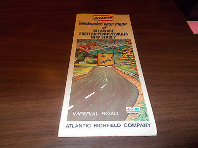 "1960s Atlantic ""Weekender"" Tour Maps of DE/Eastern PA, NJ Vintage Road Map"