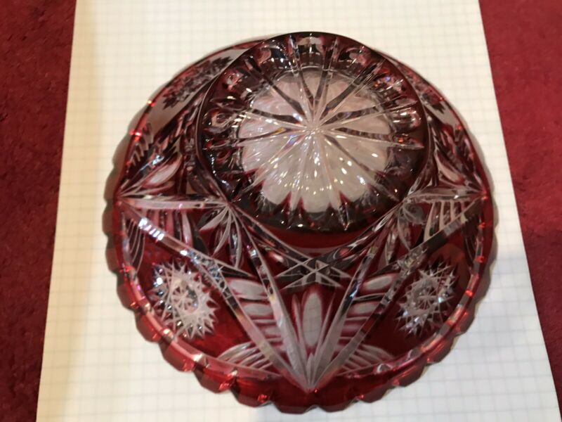 Vintage Crystal Ruby Cut to Clear 7 Inch Round Bowl.