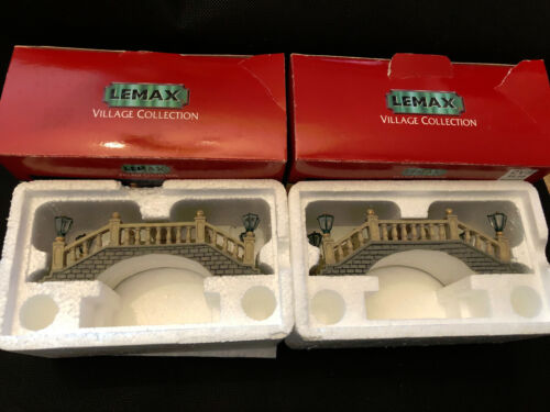 Lemax Village Collection Somerset Foot Bridge 1999 Item # 94427 Set of Two Used