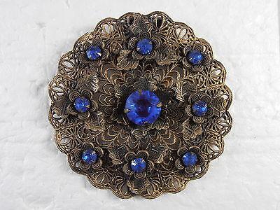 Antique Victorian Filigree Blue Rhinestone Dress Clip Pin Gold Tone Flowers