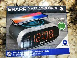 Sharp Qi WIRELESS CHARGING DIGITAL ALARM CLOCK Certified Pad Apple Samsung USB