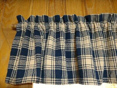 """Home Collections By Raghu - Navy And Tan 72"""" X 14"""" Lined Valance"""
