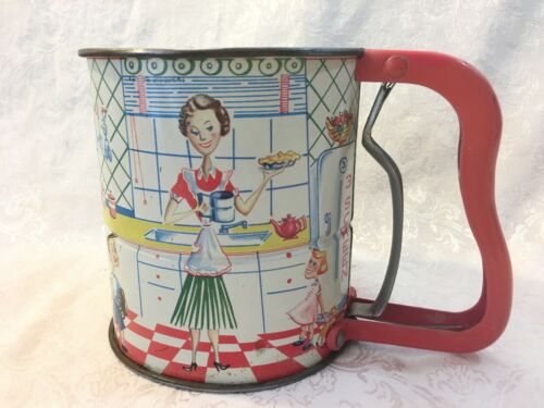 Old Vintage 1950s Kitchen Androck Flour SIFTER Mom Kids Baking Pie Litho Graphic