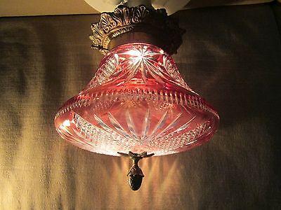 Antique Edwardian Victorian Cranberry Glass Brass Ceiling  Light