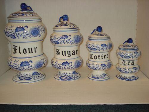 Vtg BLUE ONION Danube CANISTER SET FLOUR SUGAR COFFEE TEA JAPAN