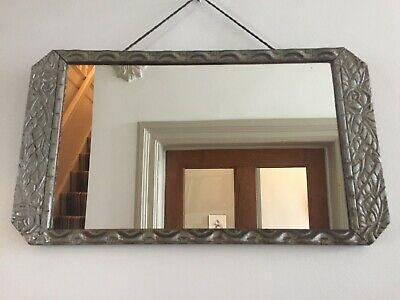 French Original Art Deco 1930s Vintage Mirror Distressed Silver 47x27cm m265
