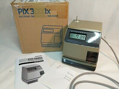 Amano Pix-3000x Electric Time Clock Stamp Recorder Punch Key New Battery Ribbon