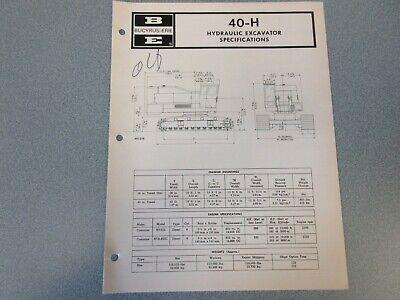 Rare Bucyrus-erie 40-h Crane Excavator Spec Information 1971