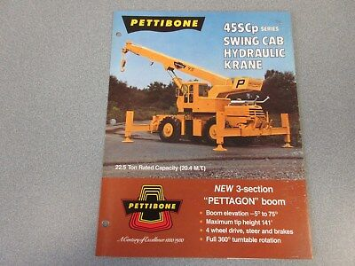 Rare Pettibone 45scp Swing Cab Hydraulic Krane Sales Brochure