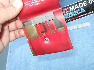 Starrett 453-e Square Vintage Usa Diemakers Toolmaker 5 Pieces Red Plastic Case