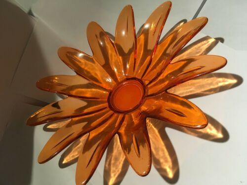 New Autumn Art-Deco Amber Glass Bowl Flower Petals (MCM