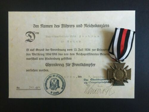 GERMAN. 3rd REICH. HINDENBURG CROSS OF HONOR WITH SWORDS & CERT -:-  GENUINE.