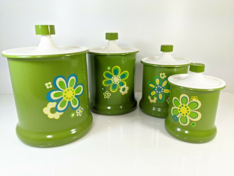Vintage Retro Set Of 4 Kromex Green Flowers Nesting Aluminum Canisters Mcm