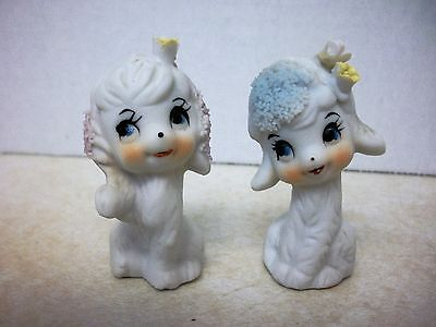 Vintage Miniature Napcoware Napco Lamb & Dog  Figurine spaghetti trim & flowers