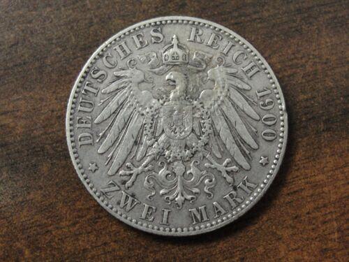 1900 E German Saxony 2 Mark Silver Coin Km #1245