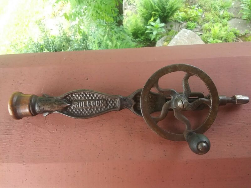 Early Rare Bullock Jewelers Hand Drill W / 10 bits Eggbeater Style 1800,s