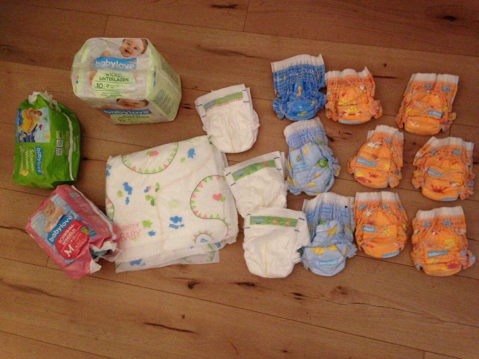 Paket Windeln Windelpaket Schwimmwindel Wickelunterlage neu BabyLove DM Gr. S M